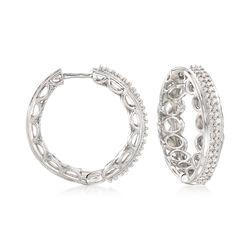 .50 ct. t.w. Diamond Scalloped Hoop Earrings in Sterling Silver, , default