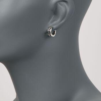 """Zina Sterling Silver Beaded Hoop Earrings. 1/2"""", , default"""