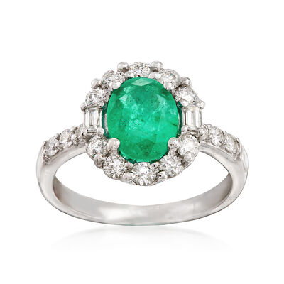 1.60 ct. Emerald and .70 ct. t.w. Diamond Halo Ring in 14kt White Gold, , default
