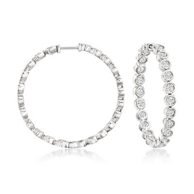 3.00 ct. t.w. Bezel-Set Diamond Inside-Outside Hoop Earrings in Sterling Silver