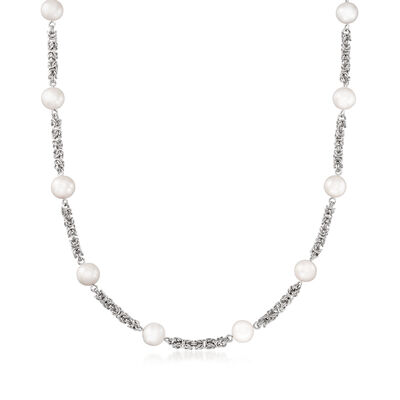9mm Cultured Pearl Byzantine Chain Necklace in Sterling Silver