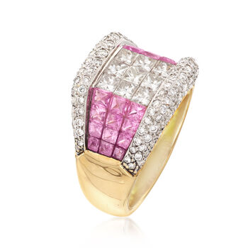 C. 1990 Vintage 2.20 ct. t.w. Pink Sapphire and 2.15 ct. t.w. Diamond Ring in 14kt Yellow Gold. Size 7