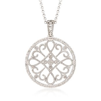 .10 ct. t.w. Diamond Filigree Circle Pendant Necklace in Sterling Silver