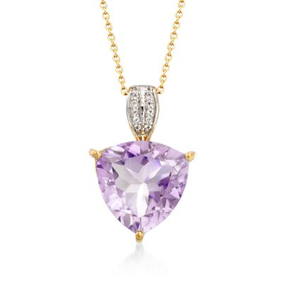 9.75 Carat Amethyst and .10 ct. t.w. White Topaz Pendant Necklace in 18kt Gold Over Sterling, , default