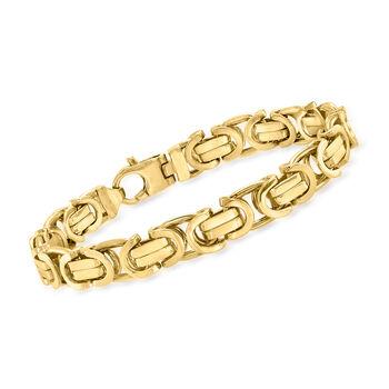 """Men's 14kt Yellow Gold Curved Link Bracelet. 8.5"""", , default"""