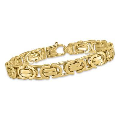 Men's 14kt Yellow Gold Curved Link Bracelet, , default