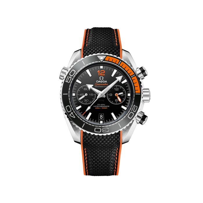Omega Seamaster Planet Ocean Men's 45.5mm Stainless Steel Watch with Black and Orange Strap , , default