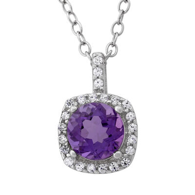 1.00 Carat Amethyst and .11 ct t.w. CZ Halo Pendant Necklace in Sterling Silver, , default