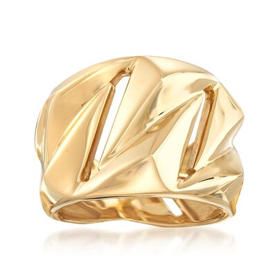 Italian 18kt Yellow Gold Geometric Ring, , default