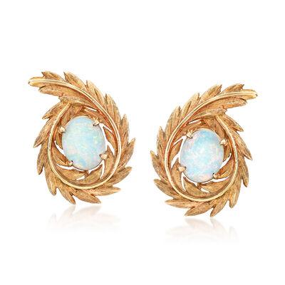 C. 1960 Vintage 2.40 ct. t.w. Opal 14kt Yellow Gold Leaf Clip-On Earrings, , default