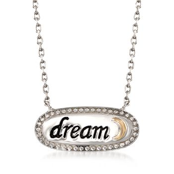 """Sterling Silver and 14kt Gold Inspirational """"Dream"""" Necklace. 18"""", , default"""