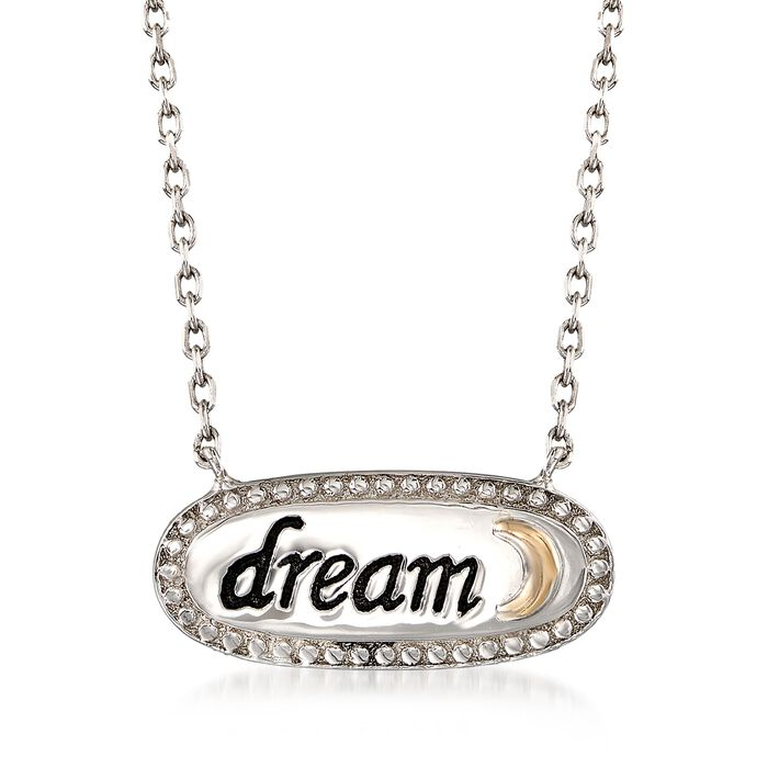 "Sterling Silver and 14kt Gold Inspirational ""Dream"" Necklace. 18"", , default"