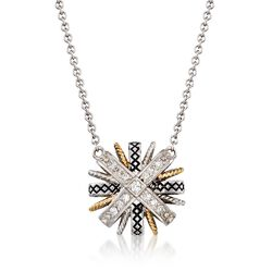 "Andrea Candela .17 ct. t.w. Diamond Starburst Necklace in Sterling Silver and 18kt Gold. 17"", , default"