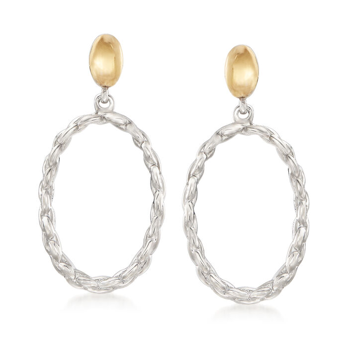 Sterling Silver and 14kt Yellow Gold Open Oval Link Drop Earrings, , default
