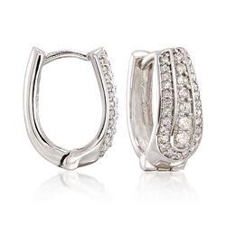 .50 ct. t.w. Diamond Multi-Row Hoop Earrings in 14kt White Gold, , default