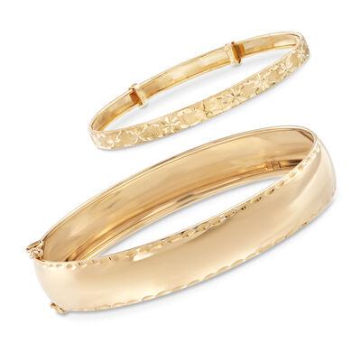 Mom & Me Bangle Bracelet Set of 2 in 14kt Yellow Gold, , default