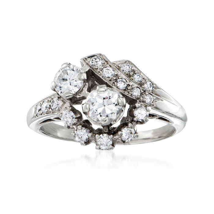 C. 1970 Vintage .95 ct. t.w. Diamond Cluster Ring in 18kt White Gold. Size 7