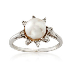 C. 1990 Vintage 8mm Cultured Pearl and .15 ct. t.w. Diamond Ring in 14kt White Gold. Size 5.5, , default