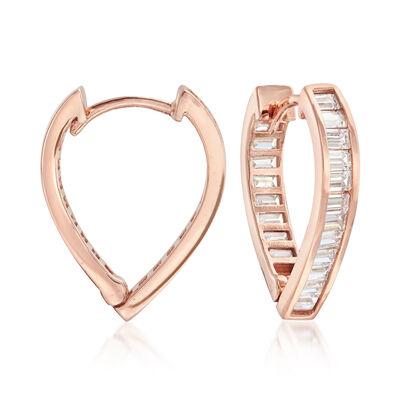 .85 ct. t.w. CZ Pointed Hoop Earrings in 14kt Rose Gold, , default