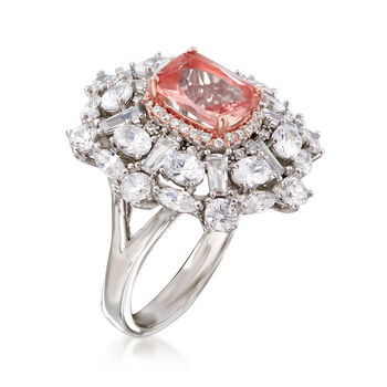 4.30 Carat Pink CZ and 3.85 ct. t.w. CZ Cluster Ring in Sterling Silver, , default