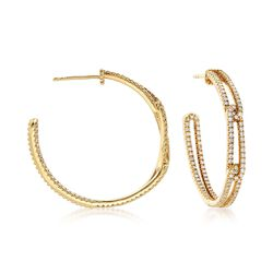 "Judith Ripka ""Dorsay"" 1.32 ct. t.w. Diamond Narrow Link Hoop Earrings in 18kt Yellow Gold. 1 1/4"", , default"