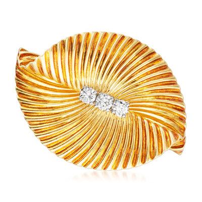 C. 1970 Vintage Tiffany Jewelry .40 ct. t.w. Diamond Fan Pin in 18kt Yellow Gold, , default
