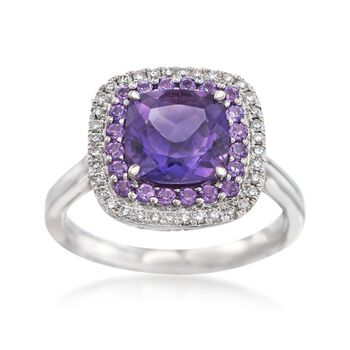 Gregg Ruth 2.20 ct. t.w. Amethyst and .20 ct. t.w. Diamond Ring in 18kt White Gold, , default