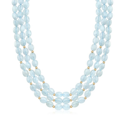 Aquamarine Triple-Row Graduated Necklace With 14kt Yellow Gold, , default