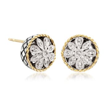 Andrea Candela Two-Tone Floral Earrings with Diamond Accents