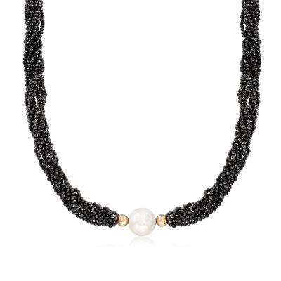 12-14mm Cultured Pearl and 183.00 ct. t.w. Black Spinel Bead Necklace in 14kt Yellow Gold, , default