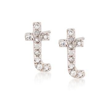 Diamond Accent Lowercase Block Initial Stud Earrings in