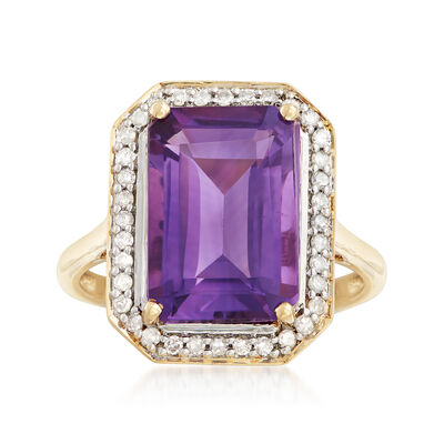 4.80 Carat Amethyst Ring with .23 ct. t.w. Diamonds in 14kt Yellow Gold, , default