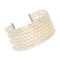 "4-5.5mm Shell Pearl Wide Cuff Bracelet in 14kt White Gold Over Sterling Silver. 7.5"", , default"