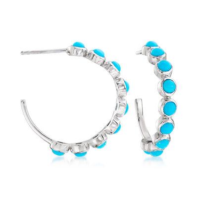 Turquoise C-Hoop Earrings in Sterling Silver