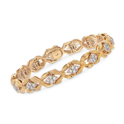 C. 1980 Vintage 2.80 ct. t.w. Diamond Station Link Bracelet in 14kt Yellow Gold