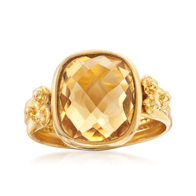 Italian 5.00 Carat Citrine Ring in 18kt Gold Over Sterling, , default