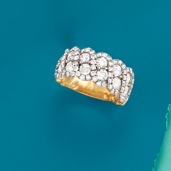 3.00 ct. t.w. Diamond Scalloped Ring in 14kt Yellow Gold