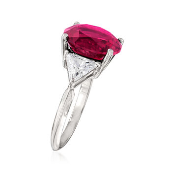 6.30 Carat Simulated Ruby and 1.50 CZ Ring in Sterling Silver, , default