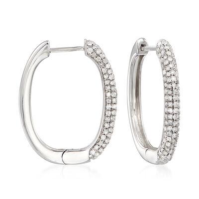 1.00 ct. t.w. Pave Diamond Hoop Earrings in Sterling Silver, , default