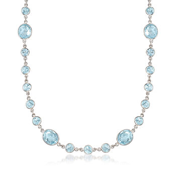 "55.00 ct. t.w. Bezel-Set Blue Topaz Necklace in Sterling Silver. 18"", , default"