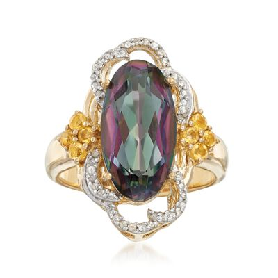 3.90 Carat Multicolored Quartz Ring with Citrines and Diamonds in 18kt Gold Over Sterling, , default