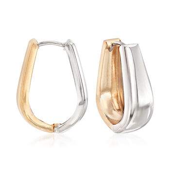 "14kt Two-Tone Gold Reversible Oval Huggie Hoop Earrings. 3/4"", , default"