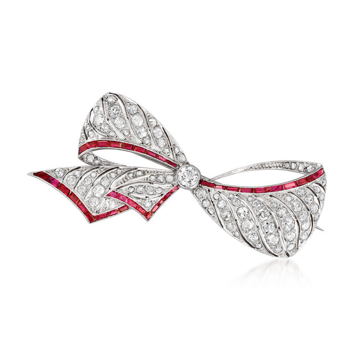 C. 1940 Vintage 1.80 ct. t.w. Diamond and 1.60 ct. t.w. Simulated Ruby Bow Pin in 14kt White Gold