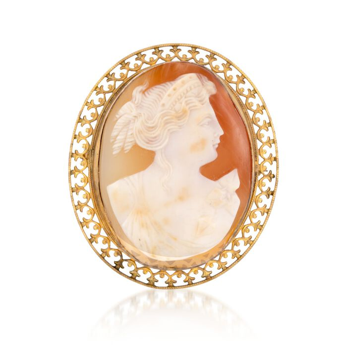 C. 1970 Vintage Carved Shell Cameo Pin in 10kt Yellow Gold