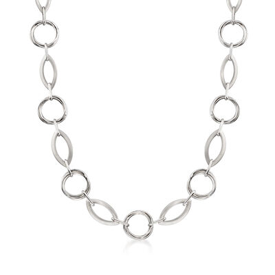 Italian Sterling Silver Round and Navette Link Chain Necklace, , default