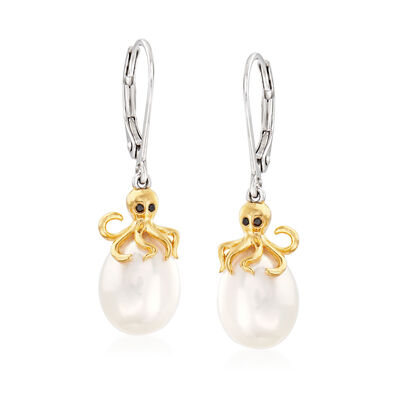 Diamond-Accented 8.5-9mm Cultured Pearl Octopus Drop Earrings in Sterling Silver and 18kt Gold Over Sterling