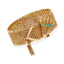 "C. 1950 Vintage 18kt Yellow Gold Wide Woven Link Tassel Bracelet With Turquoise. 7.5"", , default"