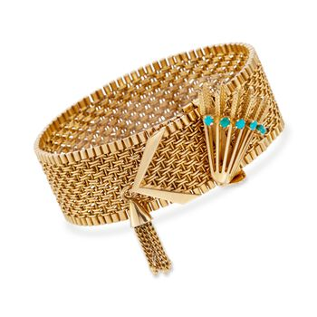 "C. 1950 Vintage 18kt Yellow Gold Wide Woven Link Tassel Bracelet With Turquoise. 7.5"", , default"