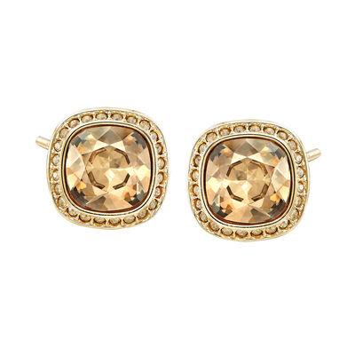 """Swarovski Crystal """"Latitude"""" Stud Earrings in Gold-Plated Metal, , default"""