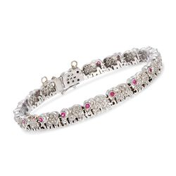 "C. 1990 Vintage 1.75 ct. t.w. Diamond and .50 ct. t.w. Ruby Elephant Link Bracelet in 14kt White Gold. 7.5"", , default"